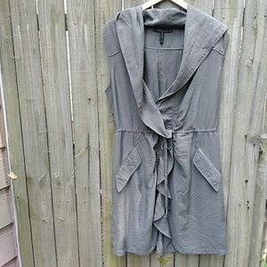 BCBG hooded swimsuit cover up olive color size L